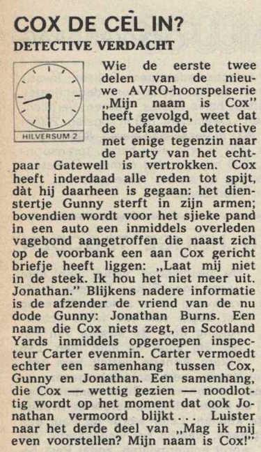 Deel 3 de inhoudsomschrijving (Mijn naam is Cox! (1968).