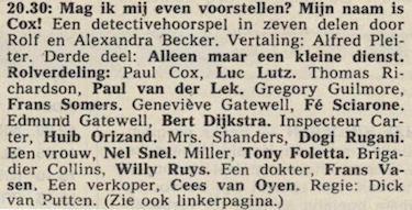 Deel 3 de rolverdeling. (Mijn naam is Cox! (1968).