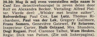 Deel 4 de rolverdeling. (Mijn naam is Cox! (1968).