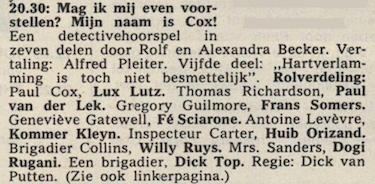 Deel 5 de rolverdeling. (Mijn naam is Cox! (1968).