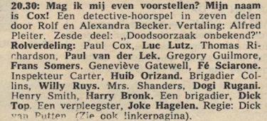 Deel 6 de rolverdeling. (Mijn naam is Cox! (1968).