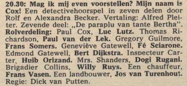 Deel 7 de rolverdeling. (Mijn naam is Cox! (1968).