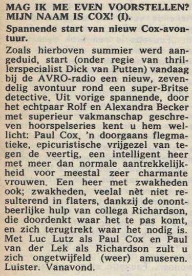 Informatie over de serie. Mijn naam is Cox! (1968).
