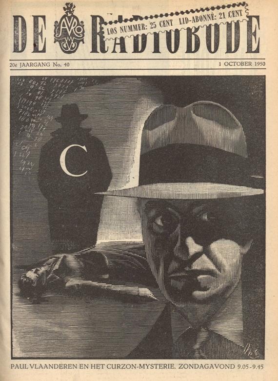 Cover van de radiogids. Paul Vlaanderen en het Curzon mysterie.