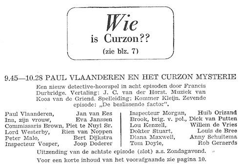 Deel 7 de rolverdeling. Paul Vlaanderen en het Curzon mysterie.