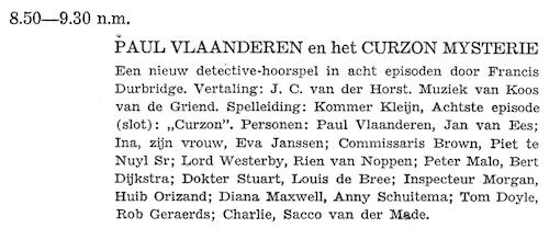 Deel 8 de rolverdeling. Paul Vlaanderen en het Curzon mysterie.