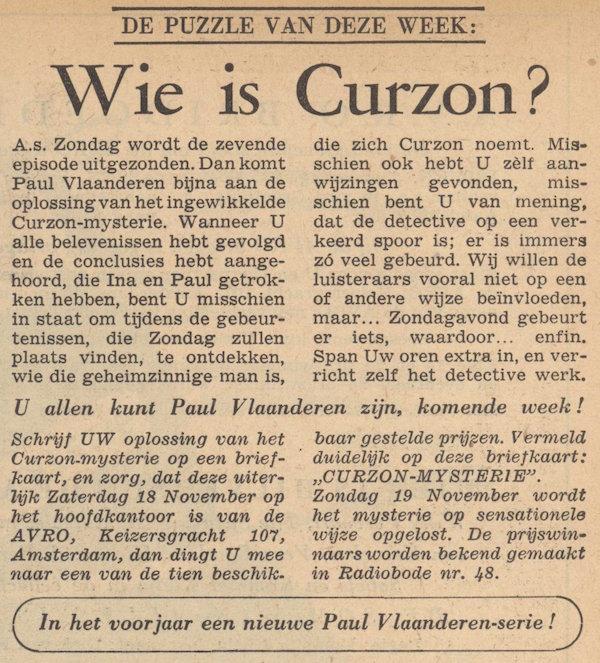 Prijsvraag. Paul Vlaanderen en het Curzon mysterie.