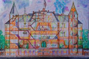 Dodenhuis. Een tekening van J. de Boer.