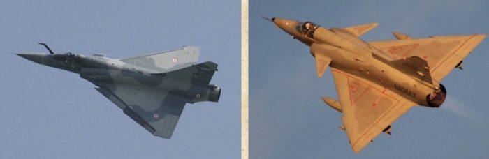 Een Franse Mirage 5 en de Israëlische Kfir.