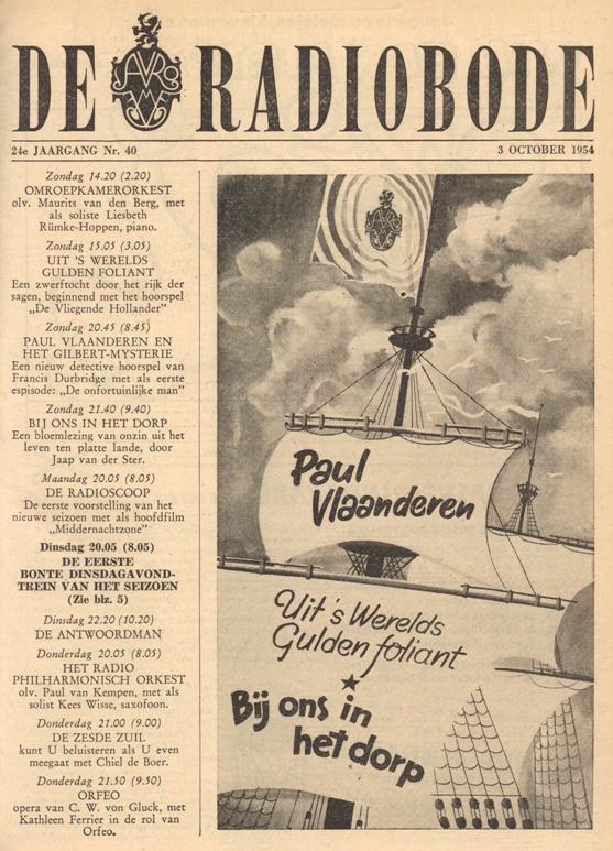 Cover van de radiogids. Paul Vlaanderen en het Gilbert mysterie.