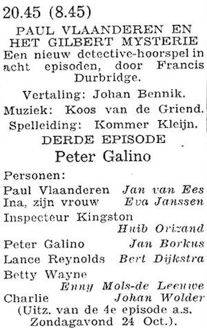 Rolverdeling deel 3. Paul Vlaanderen en het Gilbert mysterie.