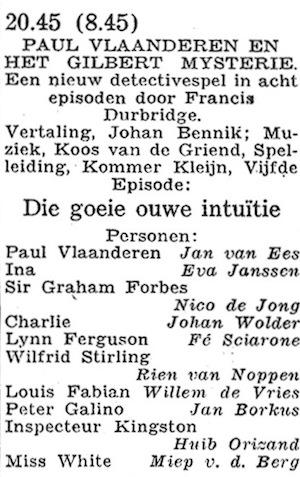Rolverdeling deel 5. Paul Vlaanderen en het Gilbert mysterie.
