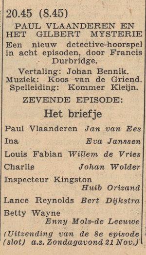 Rolverdeling deel 7. Paul Vlaanderen en het Gilbert mysterie.