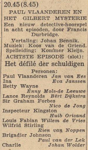 Rolverdeling deel 8. Paul Vlaanderen en het Gilbert mysterie.