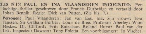 Rolverdeling. Paul en Ina Vlaanderen incognito.