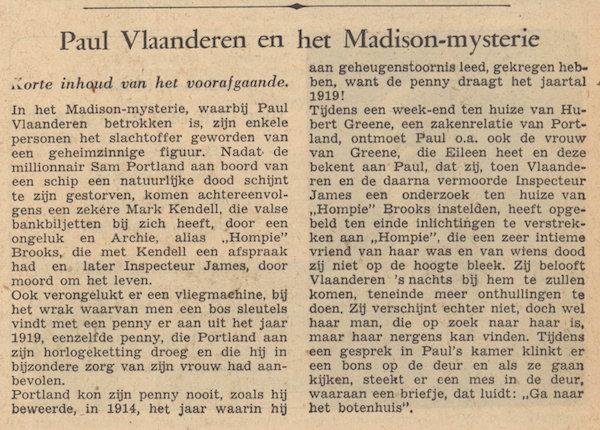 Toelichting bij deel 5. Paul Vlaanderen en het Madison mysterie.