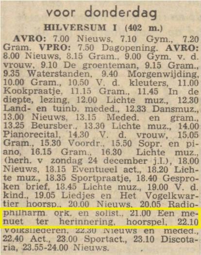 Radioprogrammering van 28 december 1961