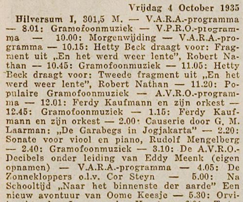 Radioprogrammering van 4 oktober 1935
