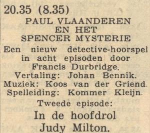 Rolverdeling deel 2. Paul Vlaanderen en het Spencer mysterie.