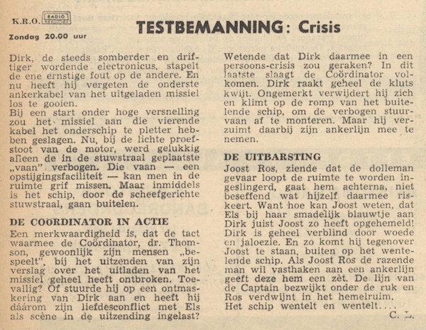 Deel 13. Aankondiging: Testbemanning informatie