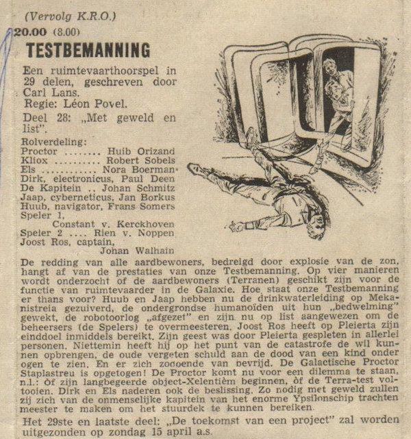 Deel 28. Aankondiging: Testbemanning