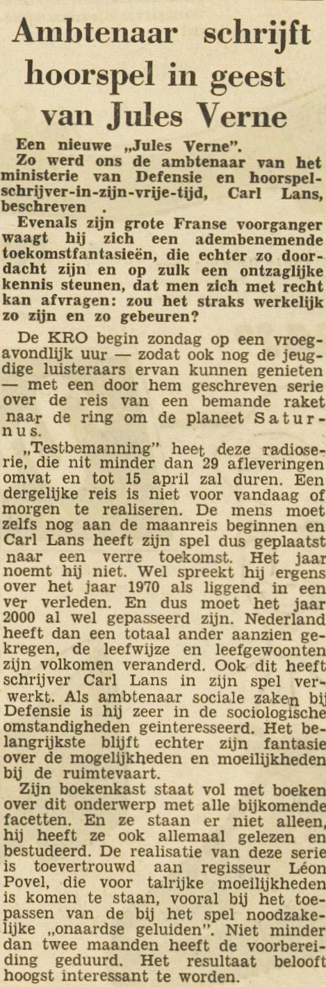 Artikel uit Leidsch Dagblad van 29 september 1961.