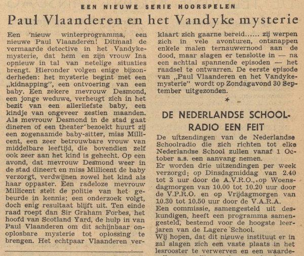 Toelichting. Paul Vlaanderen en het Vandyke mysterie.
