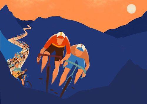 Afbeelding van twee wielrenners.