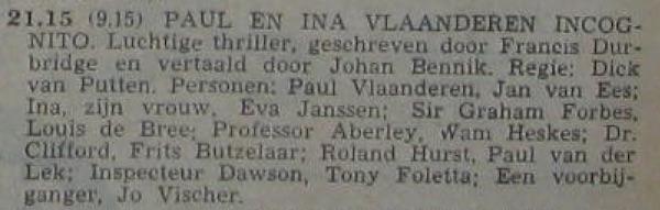 Informatie uit de radiogids, 14-09-1959.