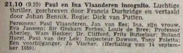 Informatie uit de radiogids, 22-09-1960.