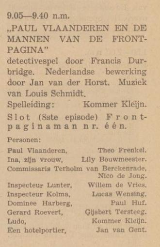 Rolverdeling deel 8 Paul Vlaanderen en de mannen van de frontpagina