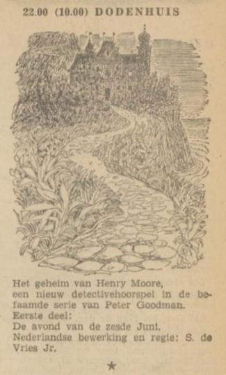 Uit de radiogids: 1953 Deel 1 Dodenhuis