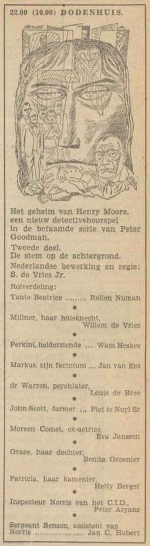Uit de radiogids: 1953 Deel 2 Dodenhuis