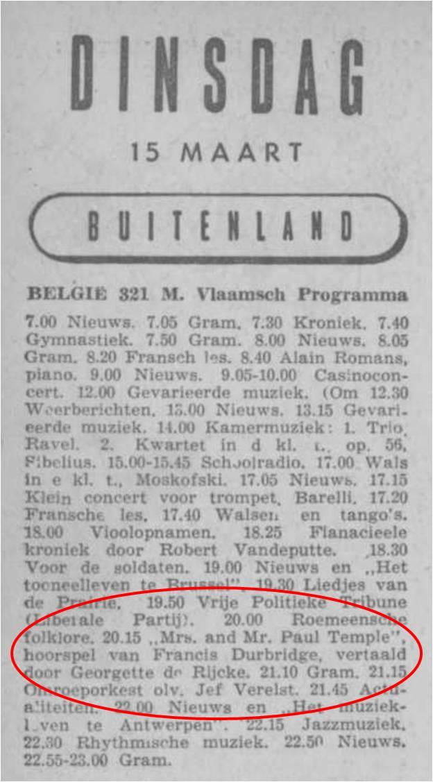 Radiobode 15 maart 1949 Paul Temple in België